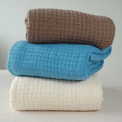 100% COTTON SOFT CLASSIC WEAVE WAFFLE BLANKET