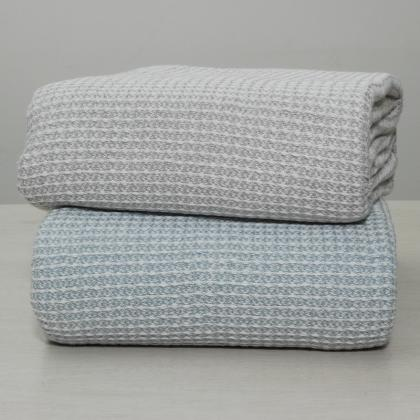 NEW FASHION YARN DYED CHAMBRAY WAFFLE WEAVE COTTON BLANKET