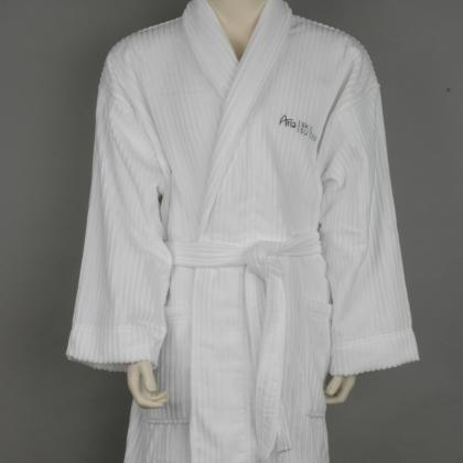 100% COTTON STRIPE VELOUR HOTEL BATHROBE
