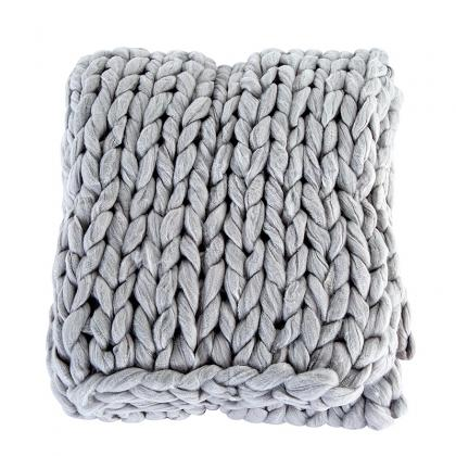 AT-KCH200102 100% ACRYLIC CHUNKY KNITTED BLANKET THROW