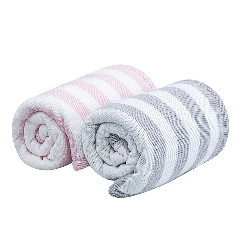 DLB-2106STR Extra Warm Double Layered Stripe Baby Blanket with Faux Sherpa Lining Winter Baby Blanket